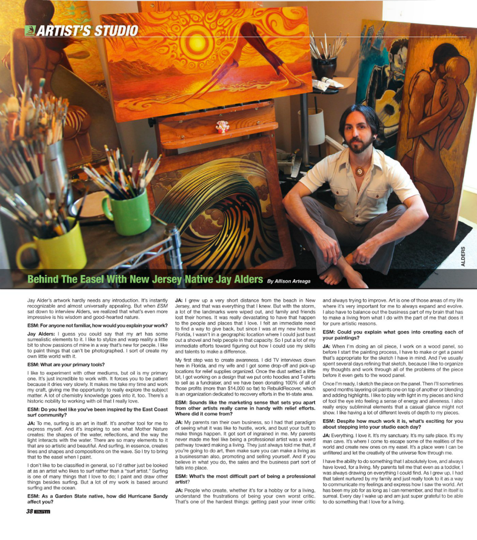 Surfer artist Jay Alders interview in May 2013 issue of ESM Magazine