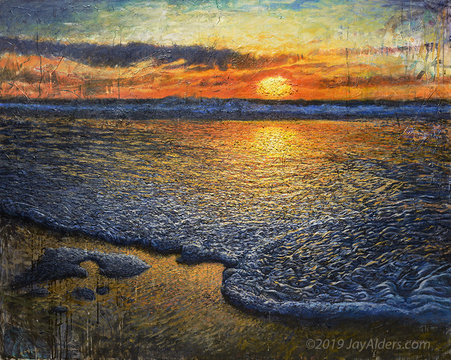 "Contemporary painting, ""Sea Quell"" - Heavy impasto rendering of the beach at sunset/sunrise"