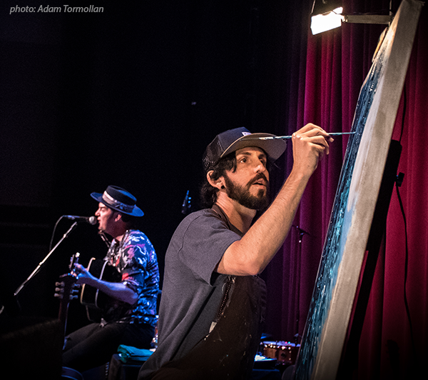 Jay Alders live painting with G Love in Manasquan NJ Algonquin Theatre