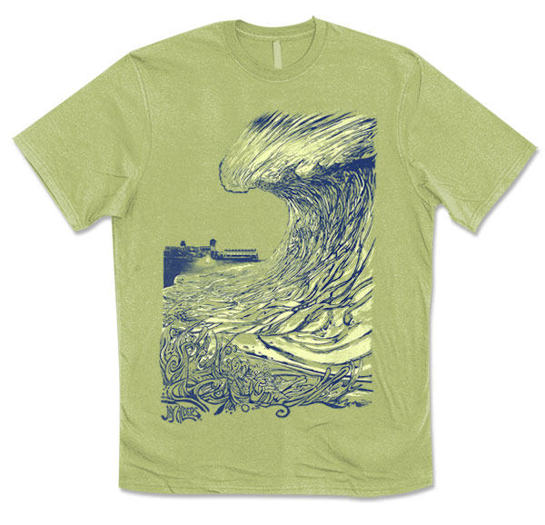 Asbury Park Wave - Unisex Surf Art Shirt by Jay Alders who designed July 2017 311 Poster