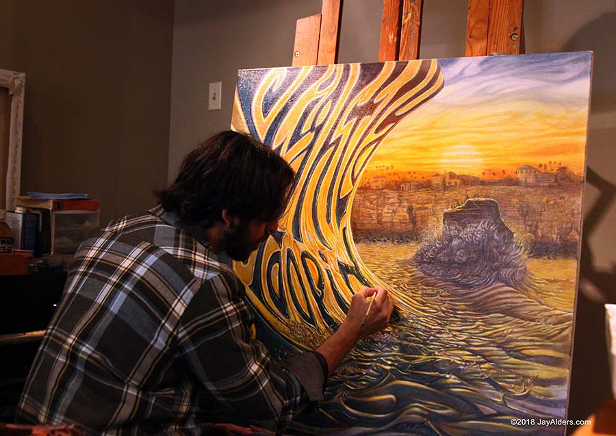 Artist Jay Alders painting Slightly Stoopid Album Art for Everyday Life Everyday People