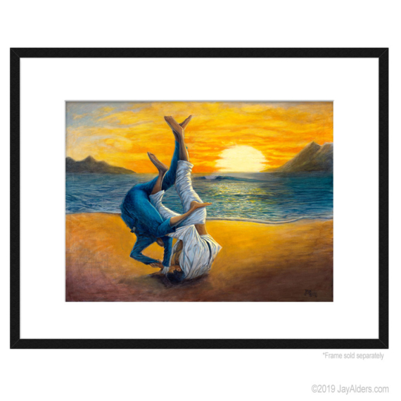 Beach Sweep - Jiu-Jitsu art print in frame