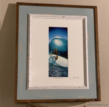 Right Past The Light - Surfer in a barrel modern surf painting by Jay Alders