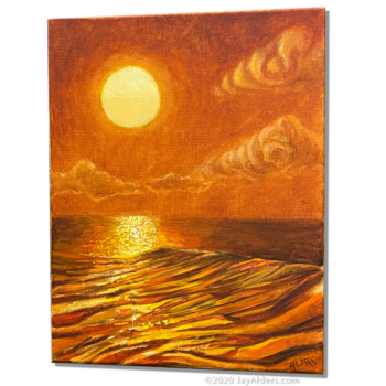 The Glow of Hope - surf art at sunset