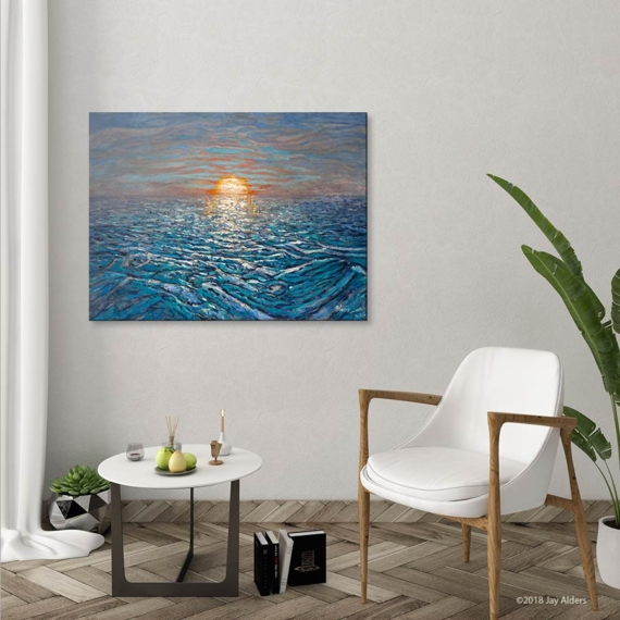 Heavy Reflections contemporary seascape by Jay Alders of a sunset over the ocean