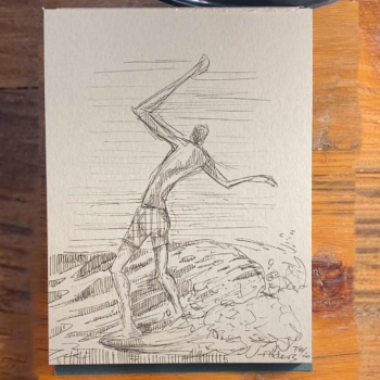 7820 Surfer drawing by modern surf artist Jay Alders