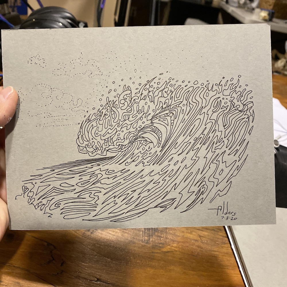 Ink drawing of an ocean wave by Jay Alders