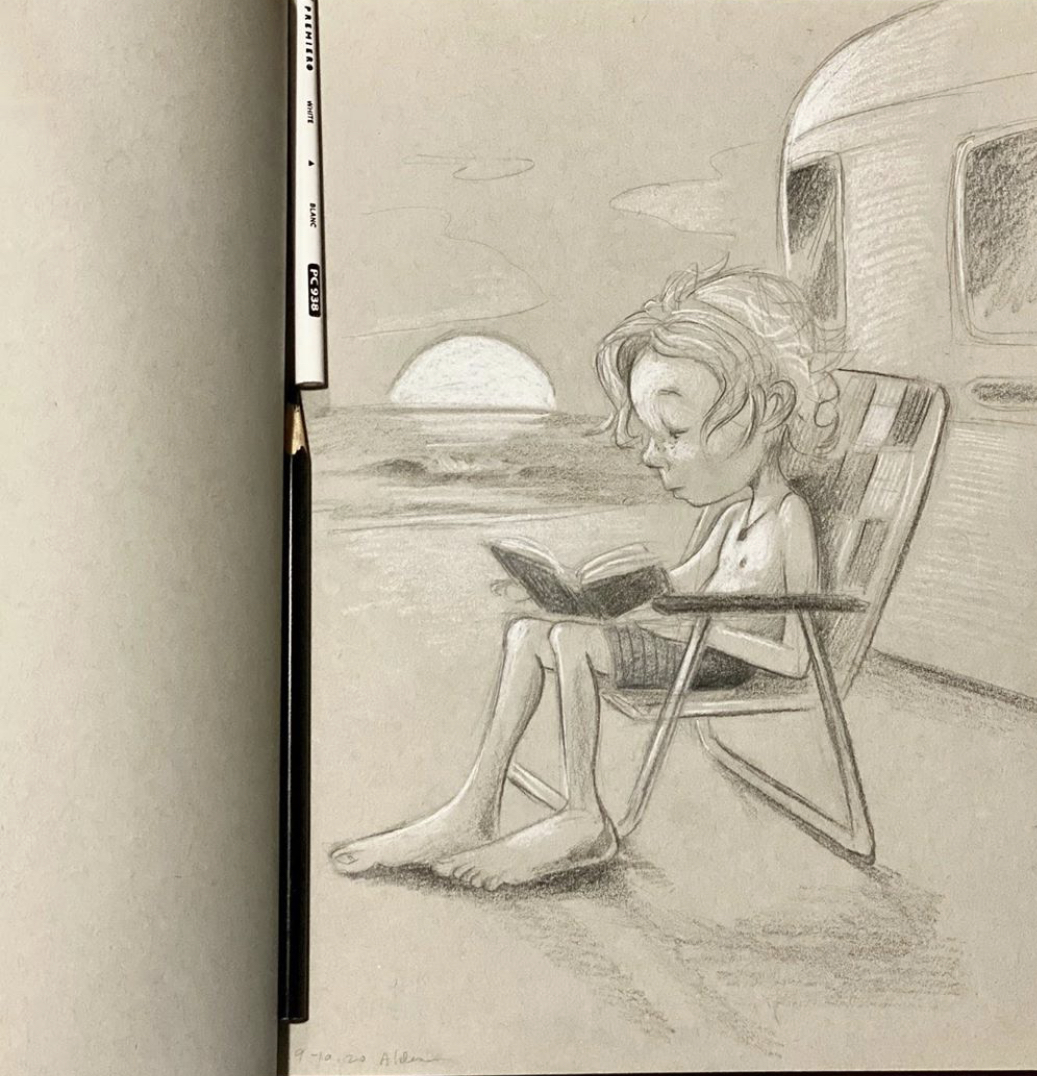 Childrens book illustration by Jay Alders of a surfer kid