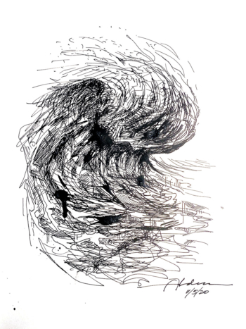 modern ocean wave ink drawing by artist Jay Alders