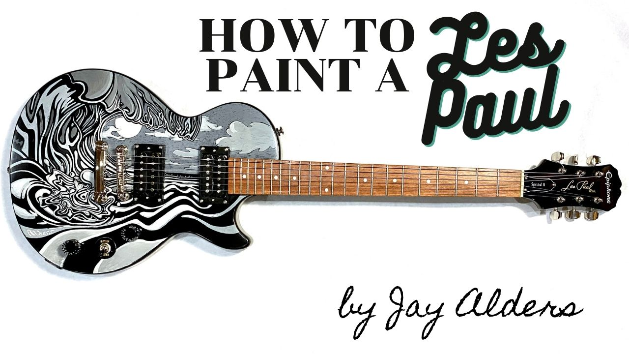 Surf painting on a Les Paul Electric Guitar by jay Alders