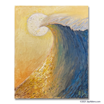 Modern oil painting of a stylized wave at sunset or sunrise by Jay Alders