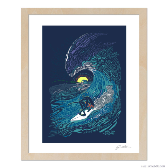 Framed surfer artwork print by Alders