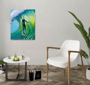 modern art print of a surfer painted in bright green and teal colors by Jay Alders