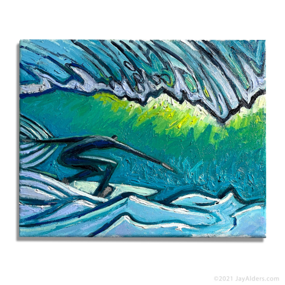 Surfer 7221- Contemporary surfer painting in thick oil paint by artist Jay Alders