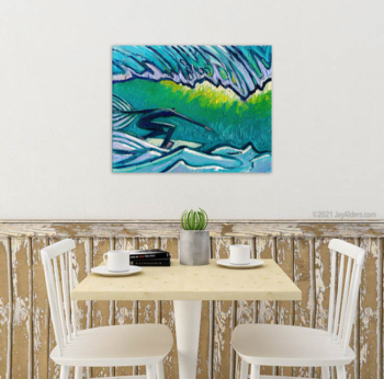 Bright blue and teal and green Surfer artwork for beach house themed decor by artist Jay alders