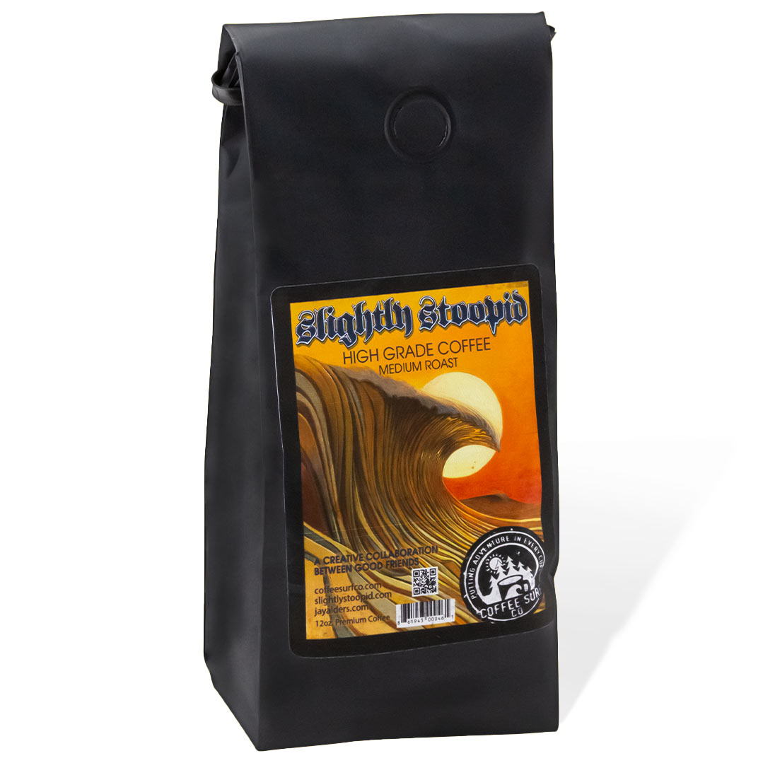 Coffee Surf, Slightly Stoopid and Jay Alders Coffee blend collaboration with surf art by Jay Alders