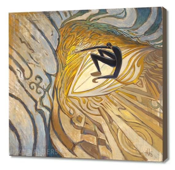 Corner pocket - stylized abstract surfer in a wave art print by Jay Alders